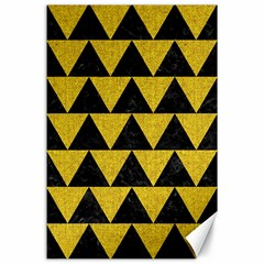 Triangle2 Black Marble & Yellow Denim Canvas 24  X 36  by trendistuff
