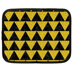 Triangle2 Black Marble & Yellow Denim Netbook Case (xxl)  by trendistuff