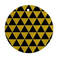Triangle3 Black Marble & Yellow Denim Round Ornament (two Sides) by trendistuff