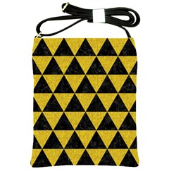 Triangle3 Black Marble & Yellow Denim Shoulder Sling Bags by trendistuff