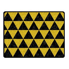 Triangle3 Black Marble & Yellow Denim Double Sided Fleece Blanket (small)  by trendistuff