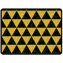 Triangle3 Black Marble & Yellow Denim Double Sided Fleece Blanket (large)  by trendistuff