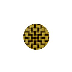 Woven1 Black Marble & Yellow Denim 1  Mini Magnets by trendistuff