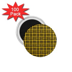 Woven1 Black Marble & Yellow Denim 1 75  Magnets (100 Pack)  by trendistuff