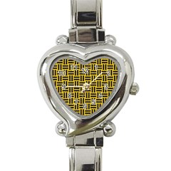 Woven1 Black Marble & Yellow Denim Heart Italian Charm Watch