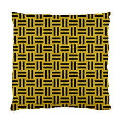 Woven1 Black Marble & Yellow Denim Standard Cushion Case (one Side) by trendistuff
