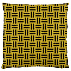 Woven1 Black Marble & Yellow Denim Large Cushion Case (one Side) by trendistuff
