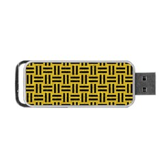Woven1 Black Marble & Yellow Denim Portable Usb Flash (one Side) by trendistuff