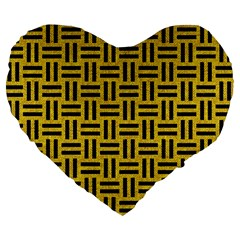 Woven1 Black Marble & Yellow Denim Large 19  Premium Flano Heart Shape Cushions by trendistuff