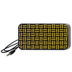 Woven1 Black Marble & Yellow Denim (r) Portable Speaker by trendistuff
