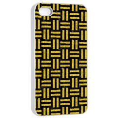 Woven1 Black Marble & Yellow Denim (r) Apple Iphone 4/4s Seamless Case (white) by trendistuff