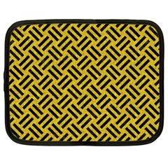 Woven2 Black Marble & Yellow Denim Netbook Case (large) by trendistuff