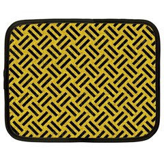 Woven2 Black Marble & Yellow Denim Netbook Case (xxl)  by trendistuff
