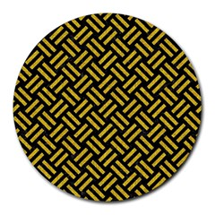 Woven2 Black Marble & Yellow Denim (r) Round Mousepads by trendistuff