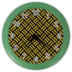Woven2 Black Marble & Yellow Denim (r) Color Wall Clocks by trendistuff