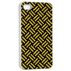 Woven2 Black Marble & Yellow Denim (r) Apple Iphone 4/4s Seamless Case (white) by trendistuff