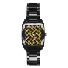 Woven2 Black Marble & Yellow Denim (r) Stainless Steel Barrel Watch by trendistuff