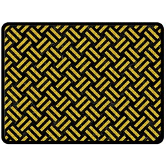 Woven2 Black Marble & Yellow Denim (r) Double Sided Fleece Blanket (large)  by trendistuff