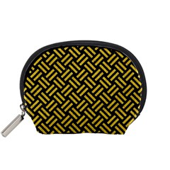Woven2 Black Marble & Yellow Denim (r) Accessory Pouches (small)  by trendistuff