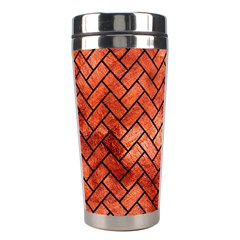 Brick2 Black Marble & Copper Paint Stainless Steel Travel Tumblers by trendistuff