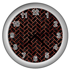 Brick2 Black Marble & Copper Paint (r) Wall Clocks (silver)  by trendistuff