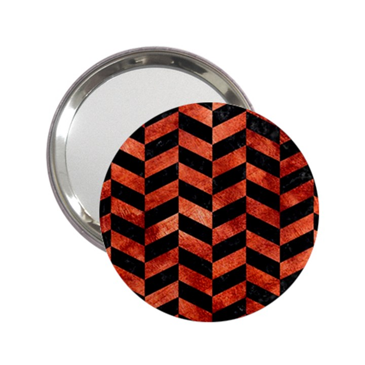 CHEVRON1 BLACK MARBLE & COPPER PAINT 2.25  Handbag Mirrors
