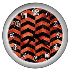 Chevron2 Black Marble & Copper Paint Wall Clocks (silver)  by trendistuff