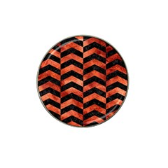 Chevron2 Black Marble & Copper Paint Hat Clip Ball Marker (4 Pack) by trendistuff