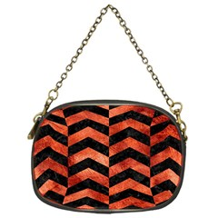 Chevron2 Black Marble & Copper Paint Chain Purses (one Side)  by trendistuff