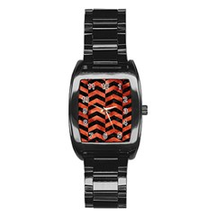Chevron2 Black Marble & Copper Paint Stainless Steel Barrel Watch by trendistuff