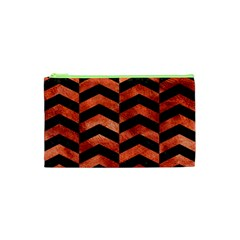 Chevron2 Black Marble & Copper Paint Cosmetic Bag (xs) by trendistuff