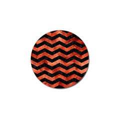 Chevron3 Black Marble & Copper Paint Golf Ball Marker by trendistuff