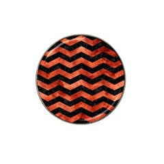 Chevron3 Black Marble & Copper Paint Hat Clip Ball Marker by trendistuff