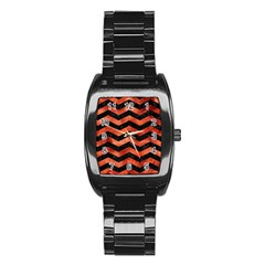 Chevron3 Black Marble & Copper Paint Stainless Steel Barrel Watch by trendistuff