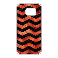 Chevron3 Black Marble & Copper Paint Samsung Galaxy S7 Edge White Seamless Case