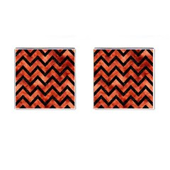 Chevron9 Black Marble & Copper Paint Cufflinks (square) by trendistuff