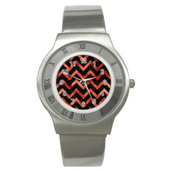 Chevron9 Black Marble & Copper Paint (r) Stainless Steel Watch by trendistuff