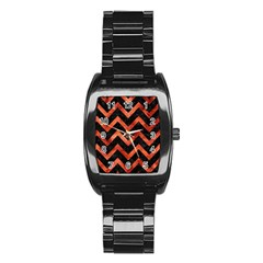 Chevron9 Black Marble & Copper Paint (r) Stainless Steel Barrel Watch by trendistuff