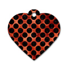 Circles2 Black Marble & Copper Paint Dog Tag Heart (one Side) by trendistuff