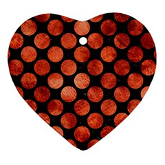 Circles2 Black Marble & Copper Paint (r) Heart Ornament (two Sides) by trendistuff