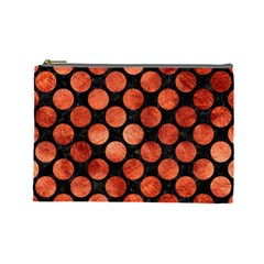 Circles2 Black Marble & Copper Paint (r) Cosmetic Bag (large)  by trendistuff