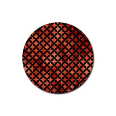 Circles3 Black Marble & Copper Paint Rubber Coaster (round)  by trendistuff
