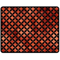 Circles3 Black Marble & Copper Paint Double Sided Fleece Blanket (medium)  by trendistuff