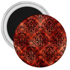 Damask1 Black Marble & Copper Paint 3  Magnets