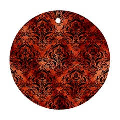 Damask1 Black Marble & Copper Paint Round Ornament (two Sides) by trendistuff