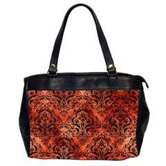 Damask1 Black Marble & Copper Paint Office Handbags (2 Sides)  by trendistuff