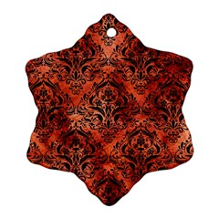 Damask1 Black Marble & Copper Paint Ornament (snowflake) by trendistuff