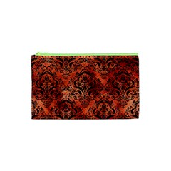 Damask1 Black Marble & Copper Paint Cosmetic Bag (xs) by trendistuff