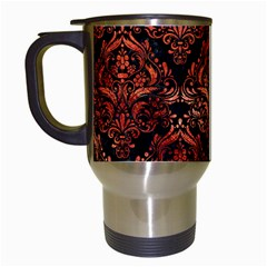 Damask1 Black Marble & Copper Paint (r) Travel Mugs (white) by trendistuff
