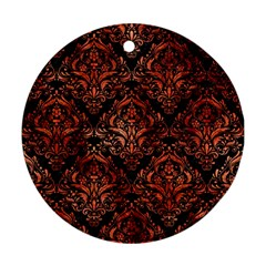 Damask1 Black Marble & Copper Paint (r) Round Ornament (two Sides) by trendistuff